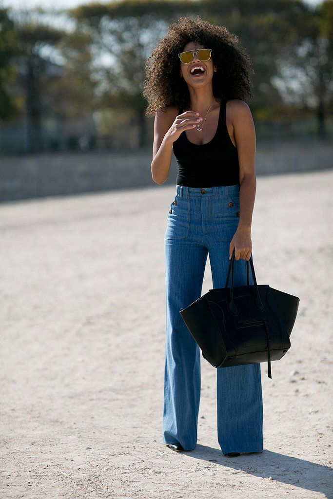 Let's not forget about the lovely 70s. Bell bottoms aren't completely out, especially if your rock them like this. What's even more perfect about this outfit is that it can suit any body type!