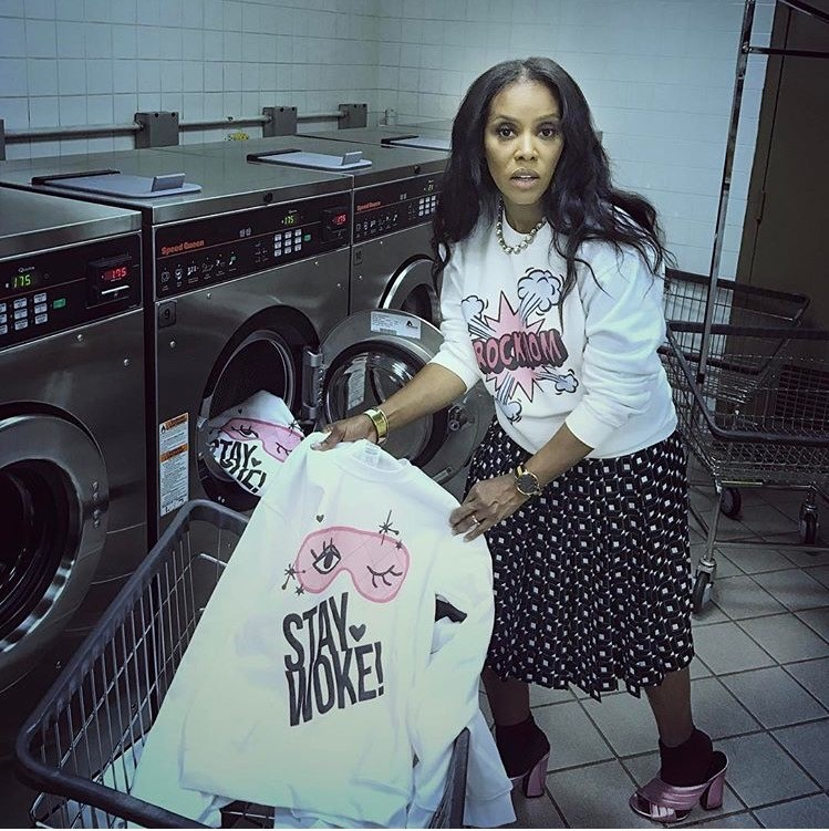 (oh snap link   http://www.juneambrose.com/limited-edition-sweatshirts-2/  )    (photo  June Ambrose's Instagram )