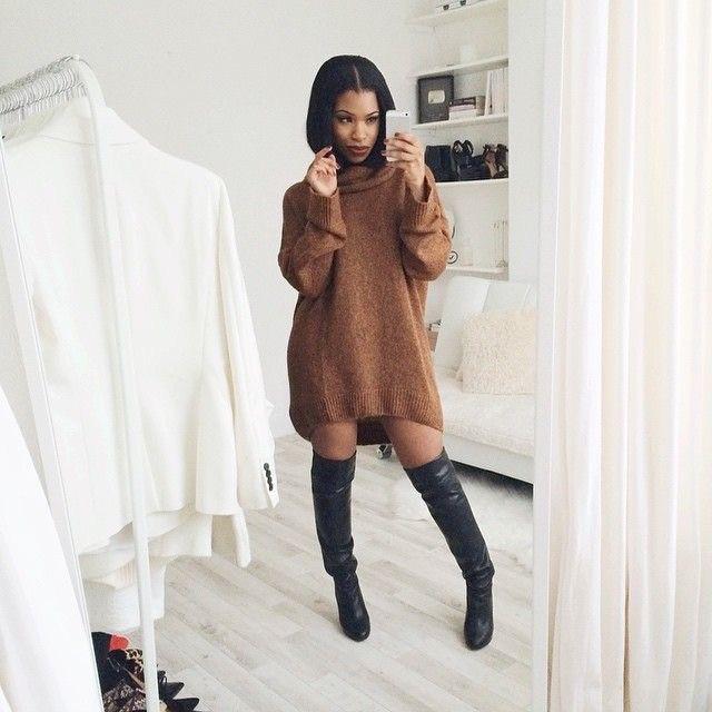 Woman wearing an oversized sweater dress. Revel in her Melanin. Picture taken from Pinterest