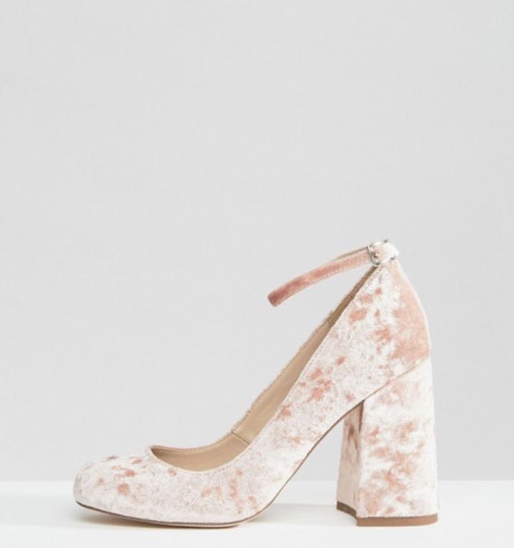Asos Parade Velvet High Block Heels