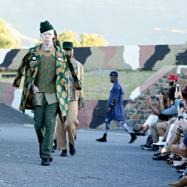 """Models walk for Chulaap during South Africa Fashion Week showcasing his new Afro-zen collection, """"Make Art Not War""""."""