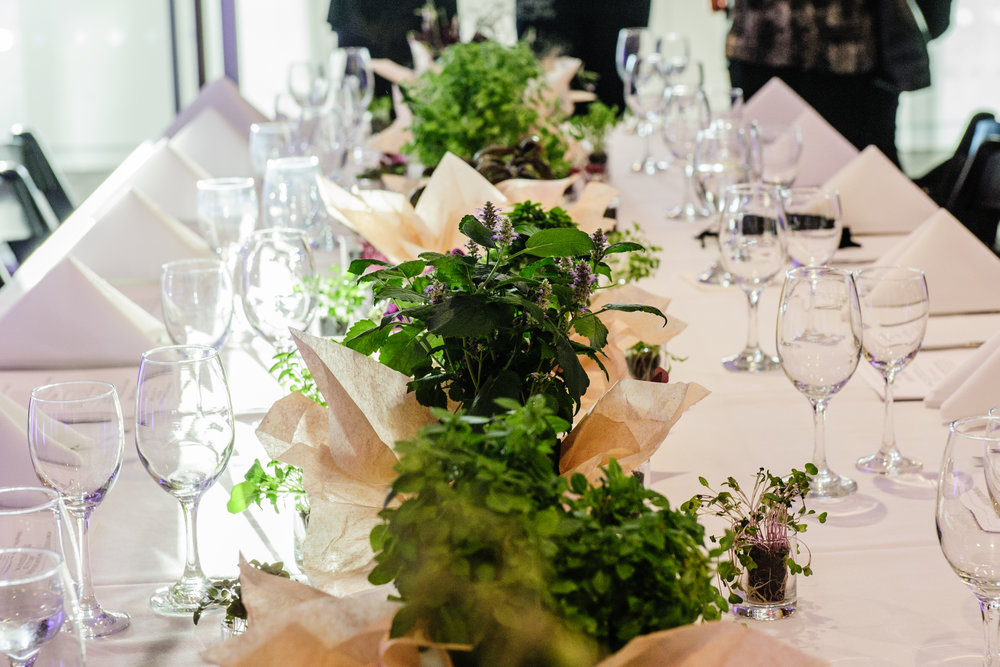 Edible Centerpieces - USING PRODUCE FROM THE FARM, GUESTS PICK FROMEDIBLE GARNISH ARRANGEMENTS AT THE TABLE