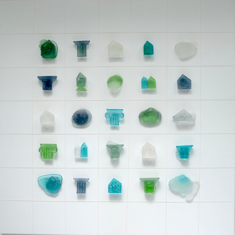 Memory Wall , Glass on Wood Panel, 2015