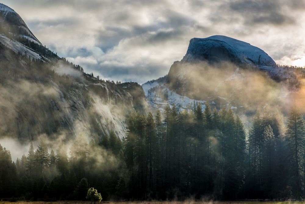 Lifting mist at Half Dome