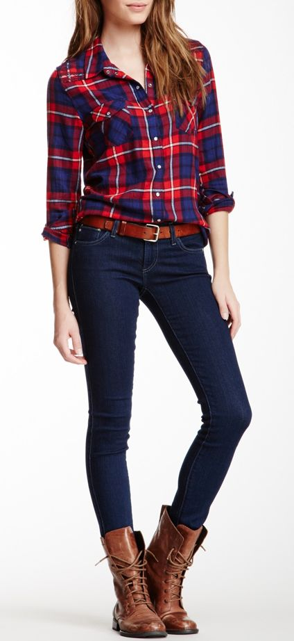 The key to this look is to wear a belt that matches the shoes. Plus tuck in the flannel so everyone can see it! Perfect preppy + country chic look!