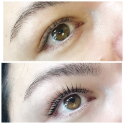 Lash Lift + Tint before and after with a Lash Lift