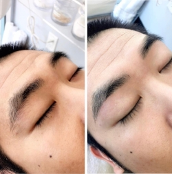 Men's before and after brow waxing and trim