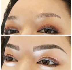 Microblading (hair strokes only) before and after
