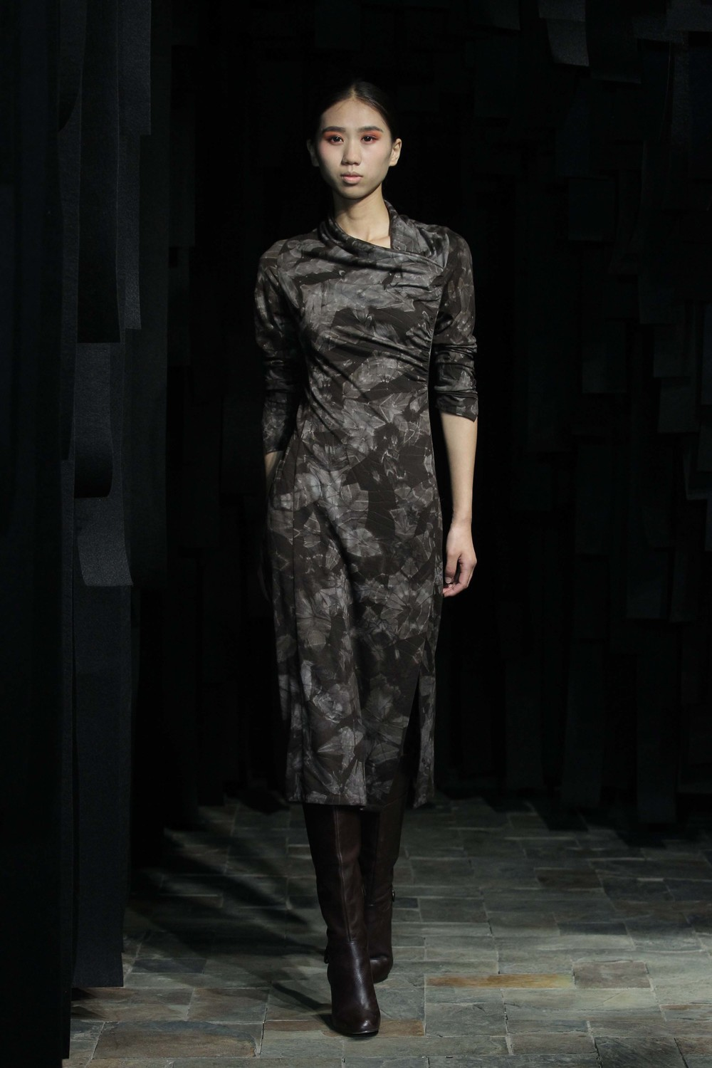 Natural shibori hand-dyed woolen dress with over-the shoulder-draped detailing