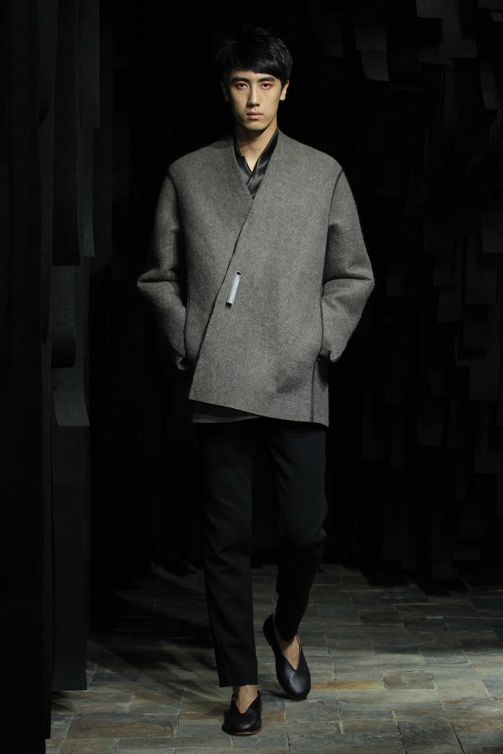 Straight-cut yak-felt man's jacket // spiral cut woolen pants with leather trim // silver brooch