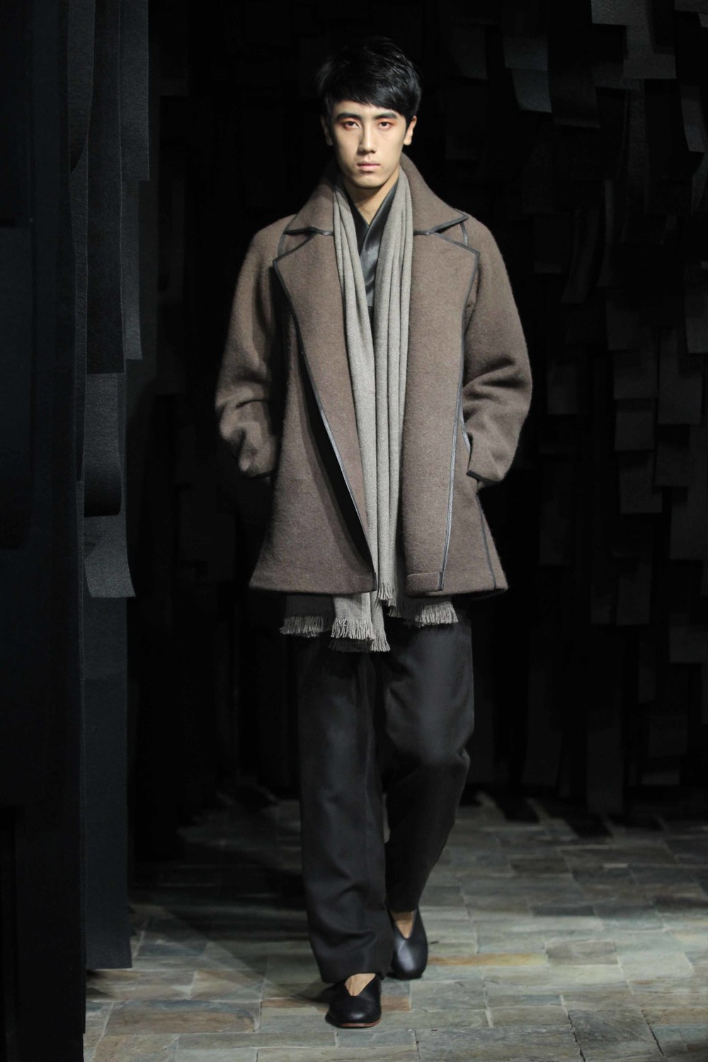 Hand-dyed man's reefer jacket with leather trim // straight cut tea-silk pants