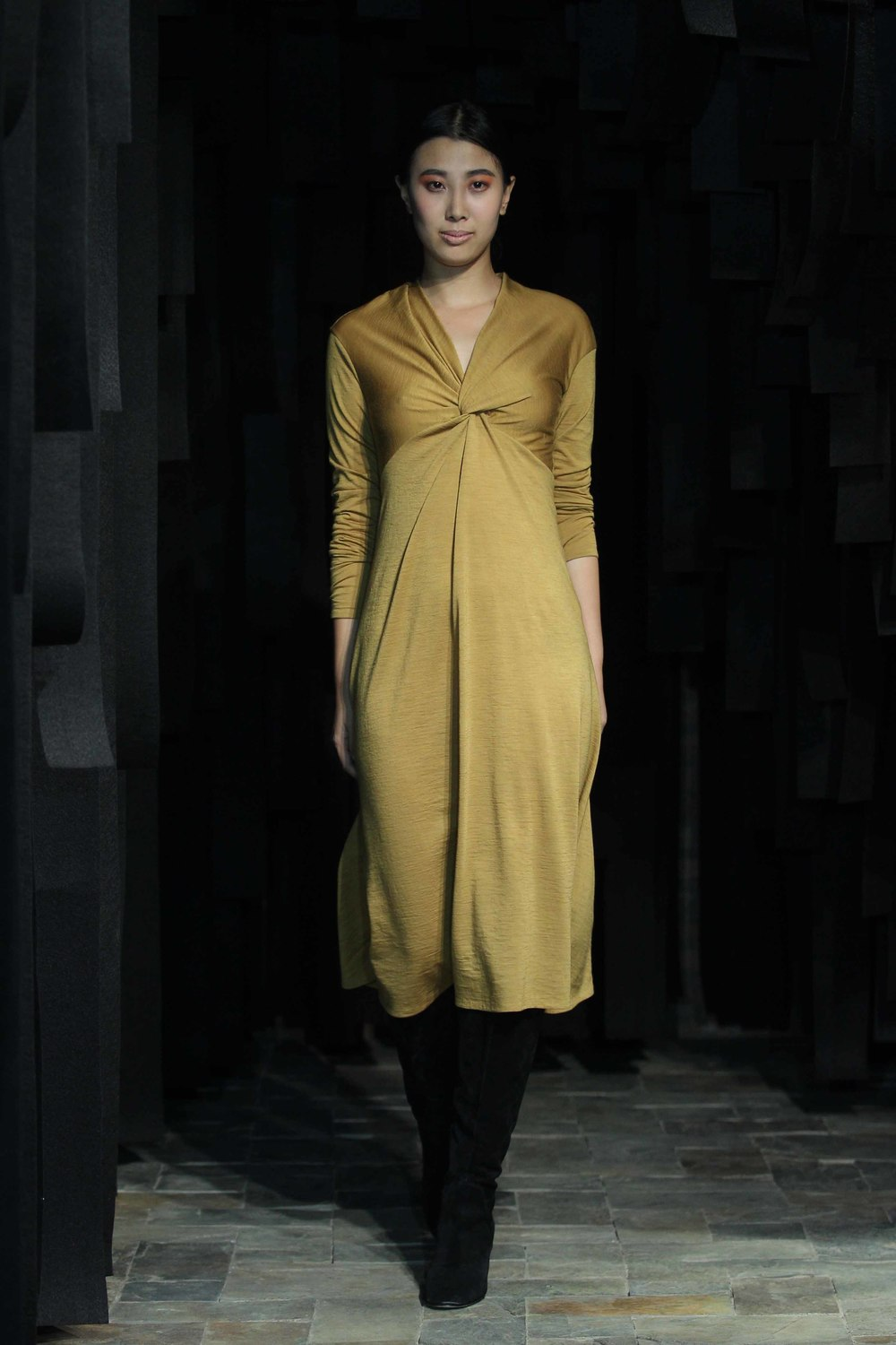 Mustard hand-dyed woolen knot detail dress