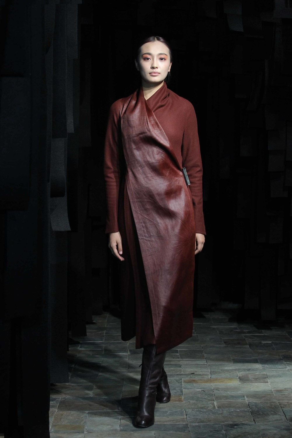 Rust colored wool flannel wraparound jersey dress with red tea-silk front panel