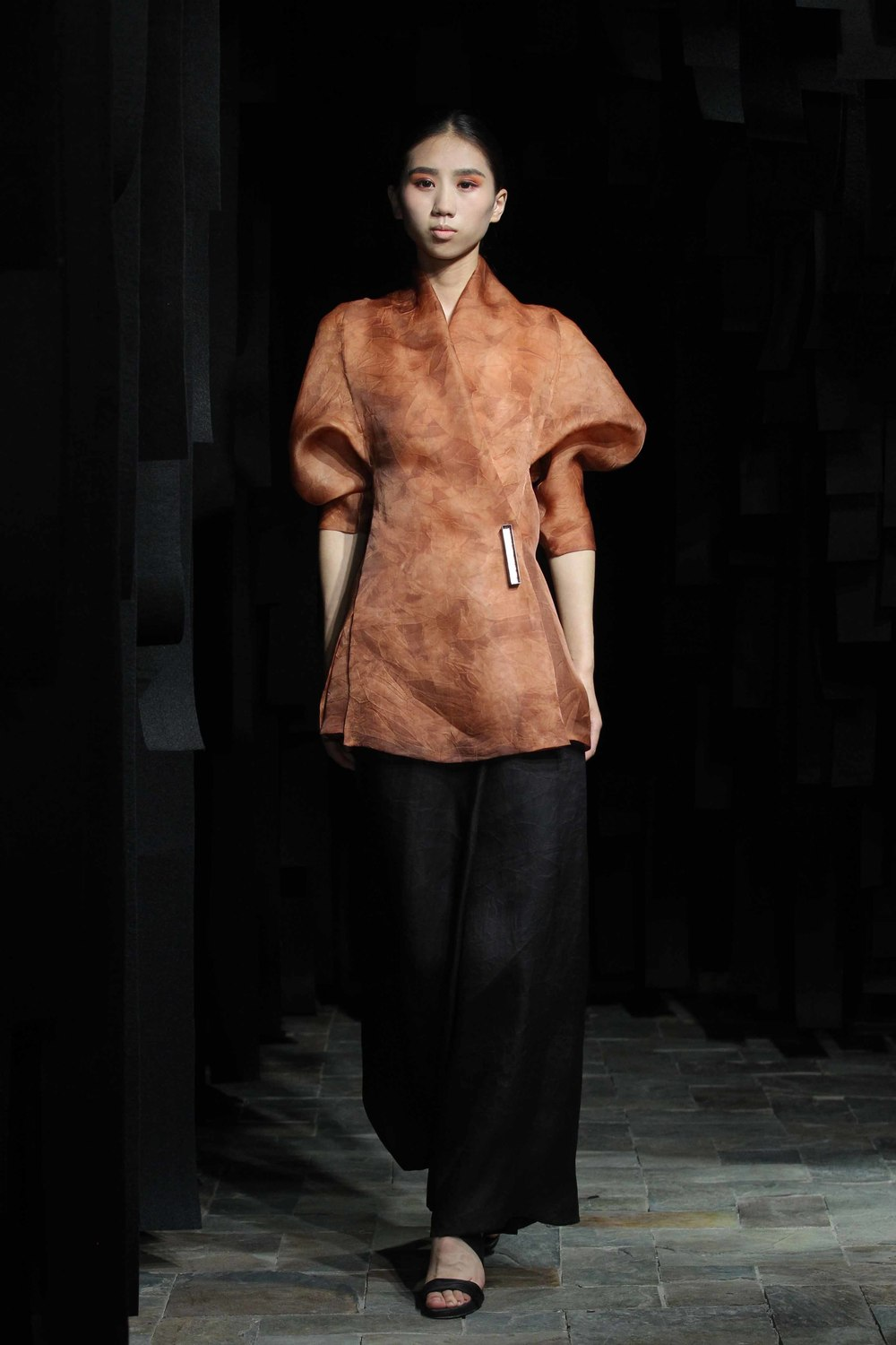 Wraparound hand-dyed organza blouse // 7/8 tea-silk wraparound pants
