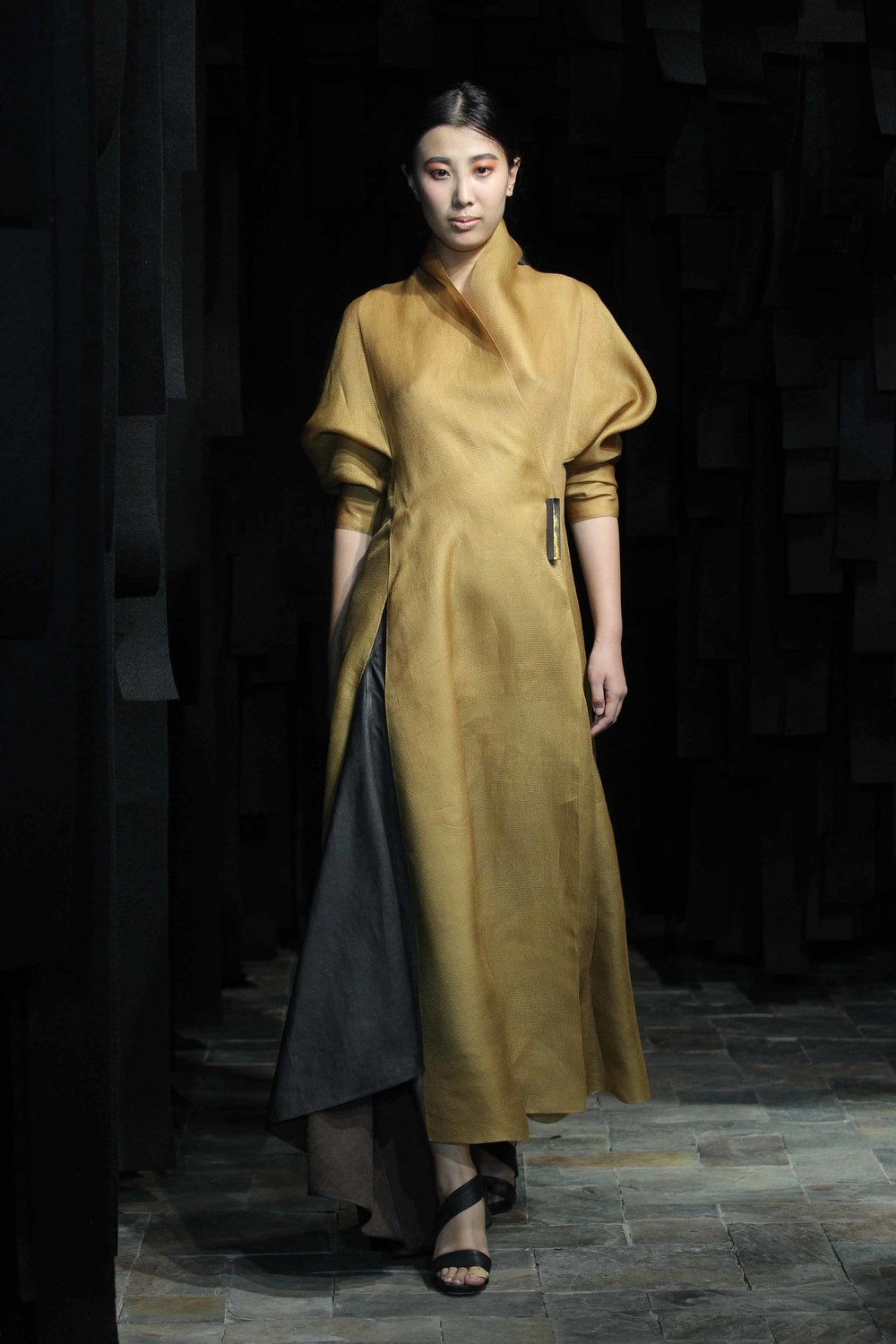 Long wraparound hand-dyed mustard organza blouse // tea silk skirt