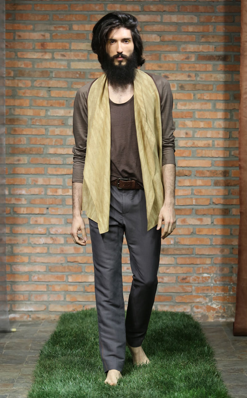 Pomegranate Shibori-dye silk-linen wrap cardigan // grey silk-linen spiral-cut pants with cinnamon colored contrasting over-stitching
