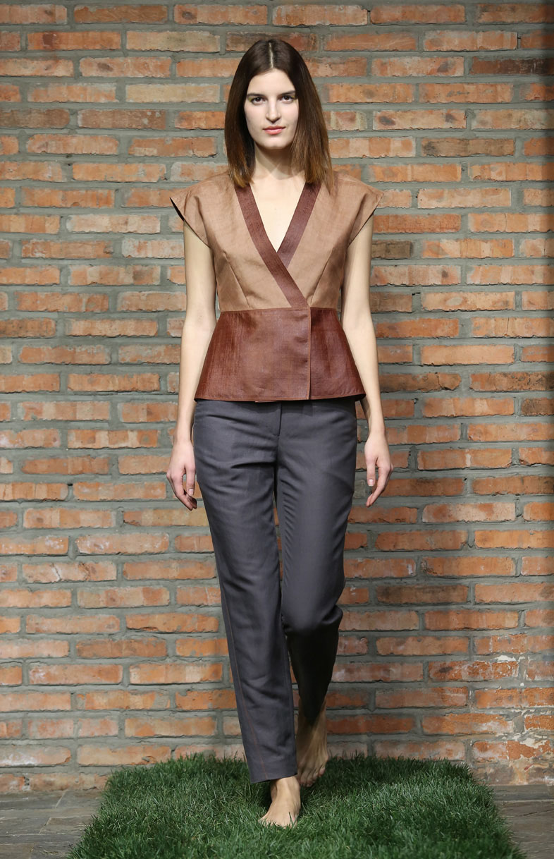 Cinnamon tea-silk wrap top // grey silk-linen spiral cut pants with over-stitching