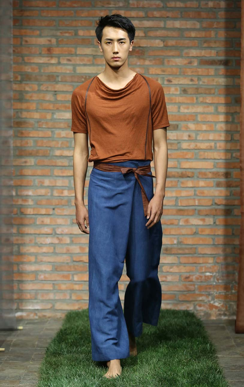 Ramie jersey top with small cowlneck and leather trim // Indigo dyed wraparound pants