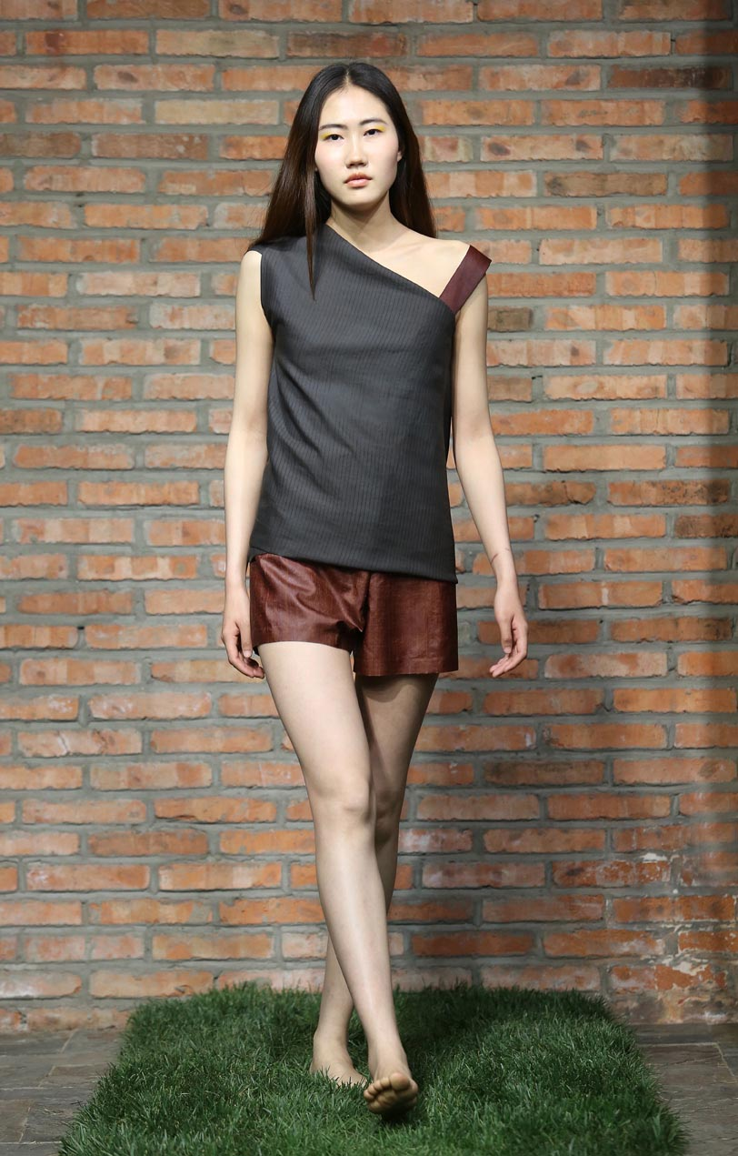 Asymmetric-cut loose tea-silk top with cinnamon tea-silk strap // cinnamon tea-silk pants