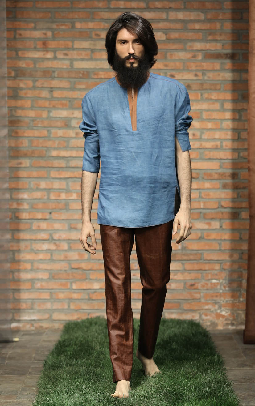 Indigo dyed men's shirt with cinnamon tea-silk details // cinnamon tea-silk spiral-cut pants