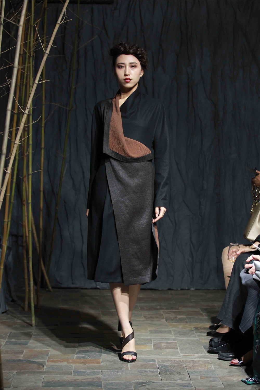 Black wool wraparound dress with bark crepe tea-silk front panel, smocked at the back