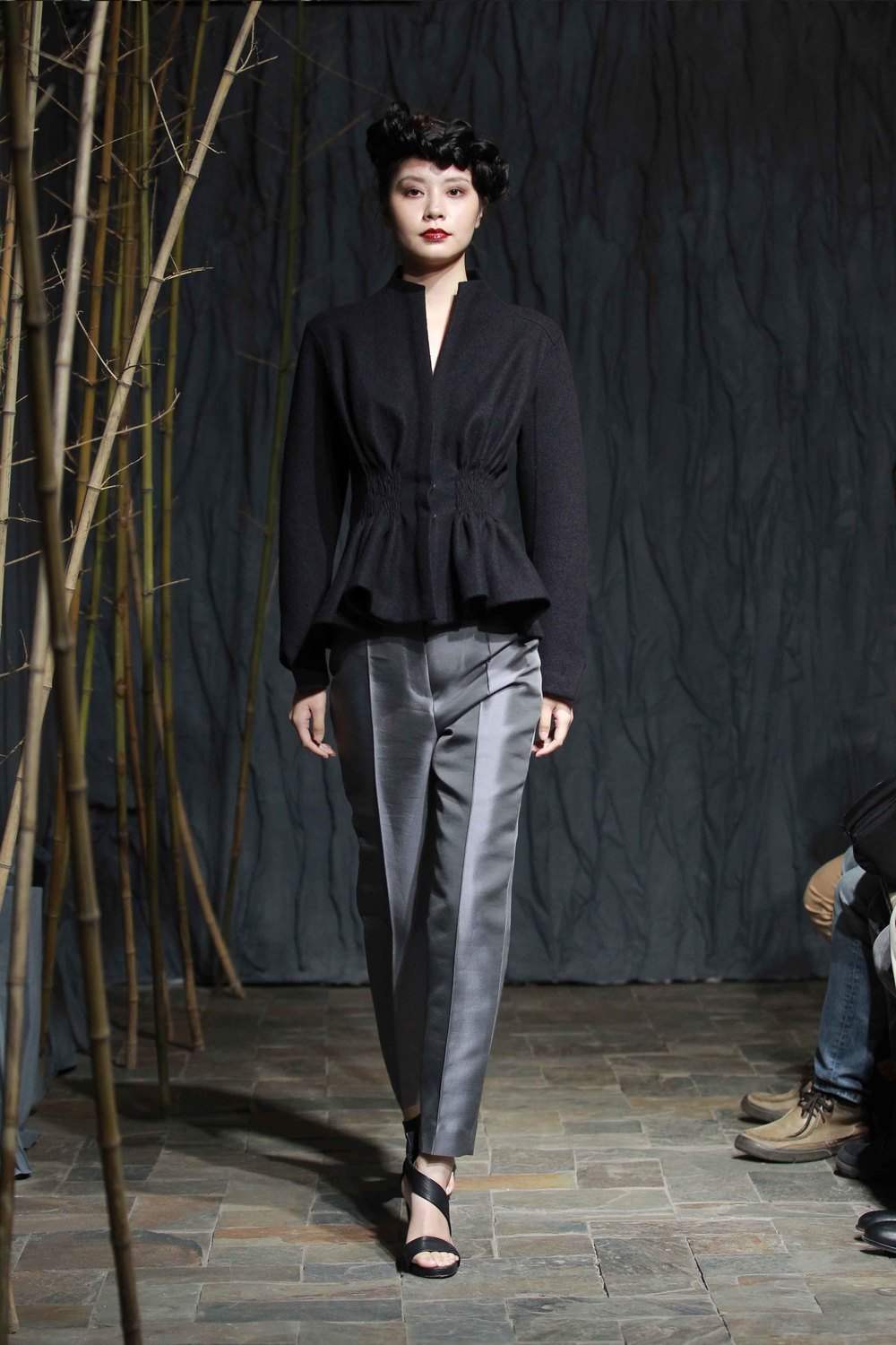 "Midnight-blue short jacket with smocked ""bark"" pleats at the front//pigeon-blue wool/ silk pants"
