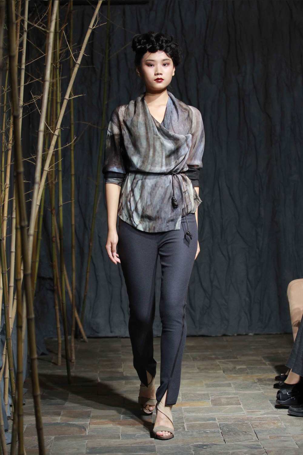 Wood texture printed wraparound silk chiffon top with tea-silk rope belt//wool flannel spiral cut pants with leather trim
