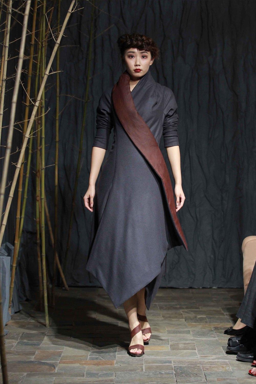 Padded tea silk flannel jersey coat