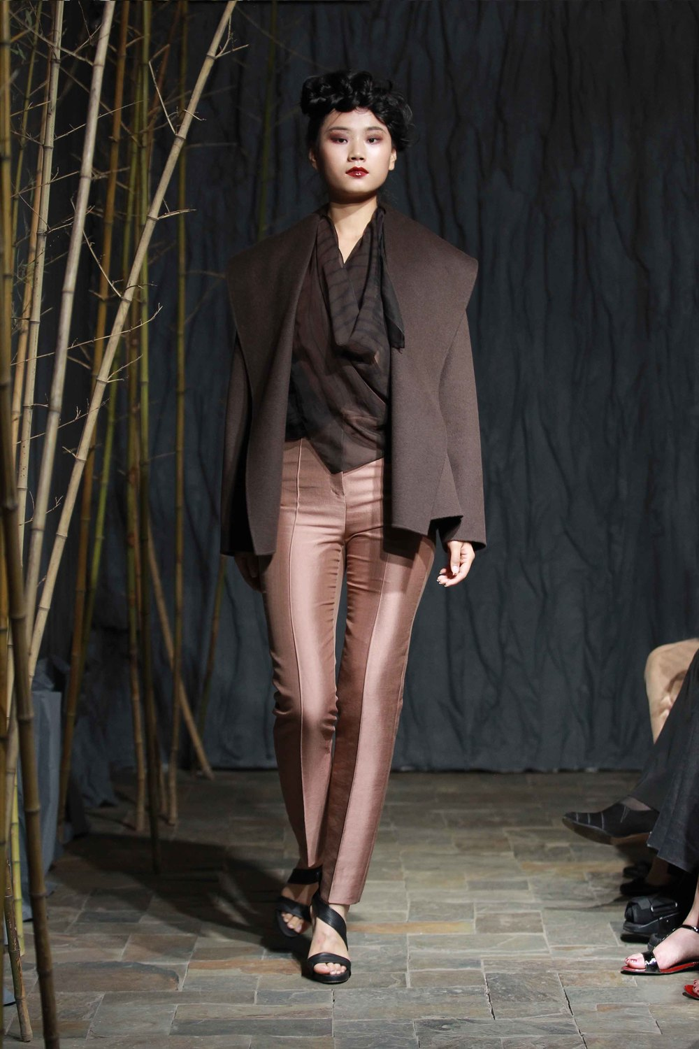 Brown double face cashmere jacket// wool/ silk pants// hand dyed silk chiffon scarf