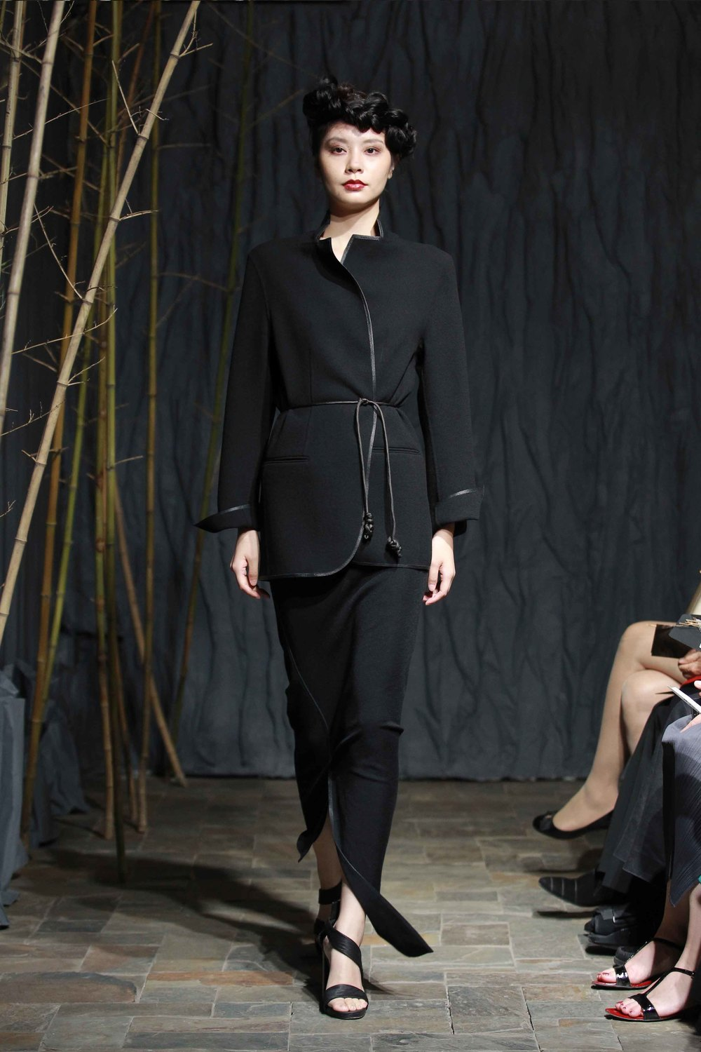 Unisex black wool crepe double-faced jacket with trim//black asymmetric woollen jersey skirt