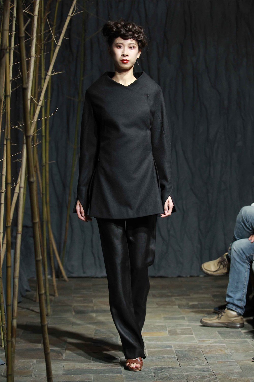 "Black woollen jacket with smocked ""bark"" pleated back// straight cut tea-silk pants"