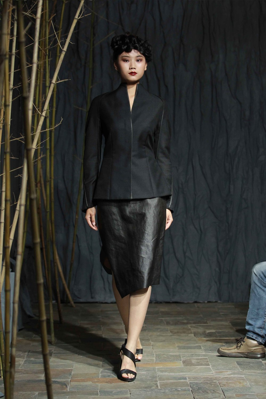 Black tea-silk trimmed mohair// wool-blend jacket with peplum