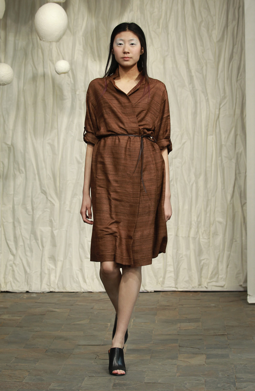 Brown silk shirtdress with cropped sleeves and thin leather belt