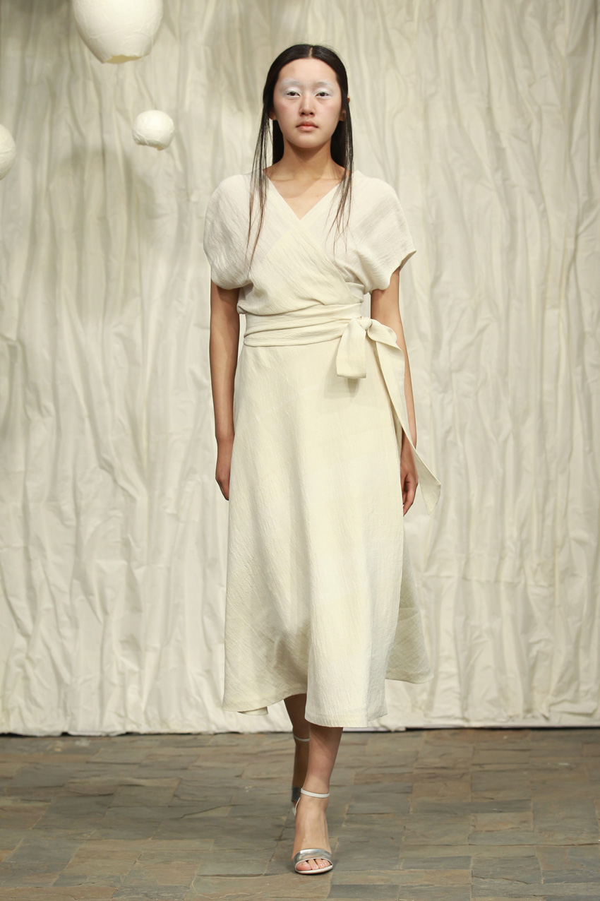 White silk- linen midi length wrap dress