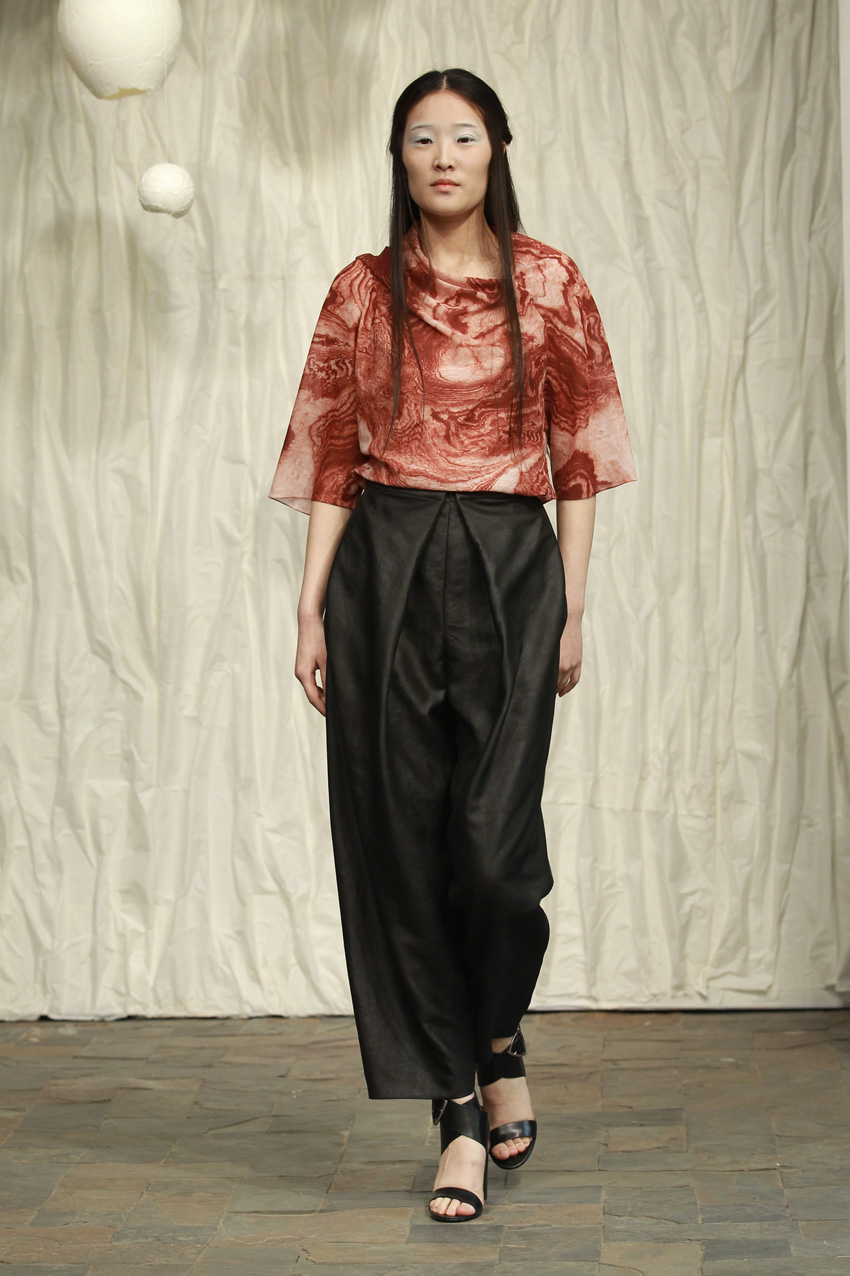Printed silk- cotton drape top// loose tea silk pants with front box pleat