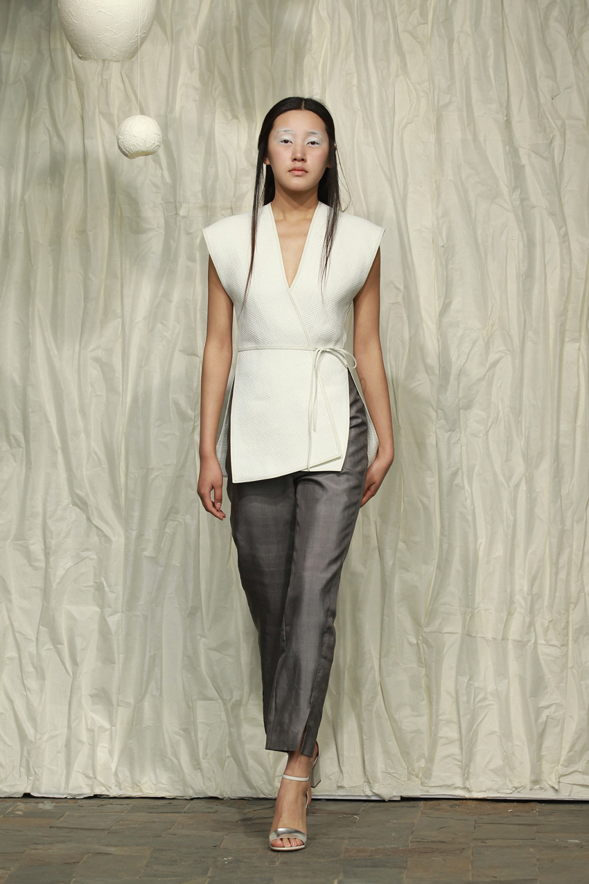 White sleeveless washi waistcoat with leather piping// spiral cut honan silk pants