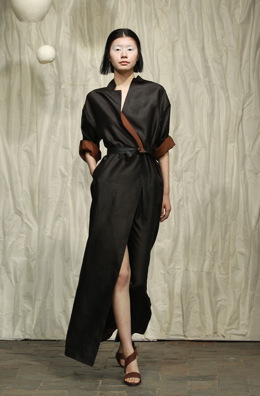 Long tea silk satin shirtdress with fagotting