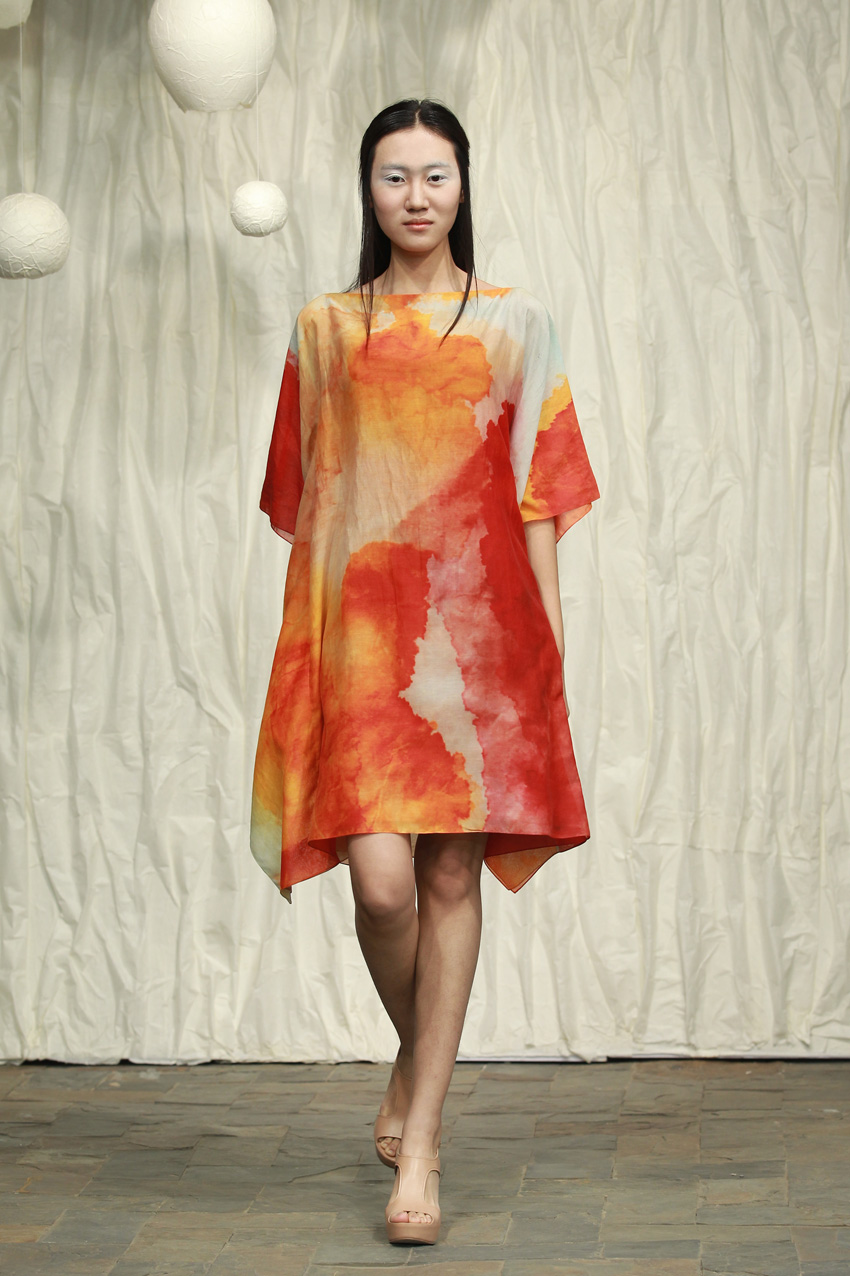 Loose printed silk- cotton dress