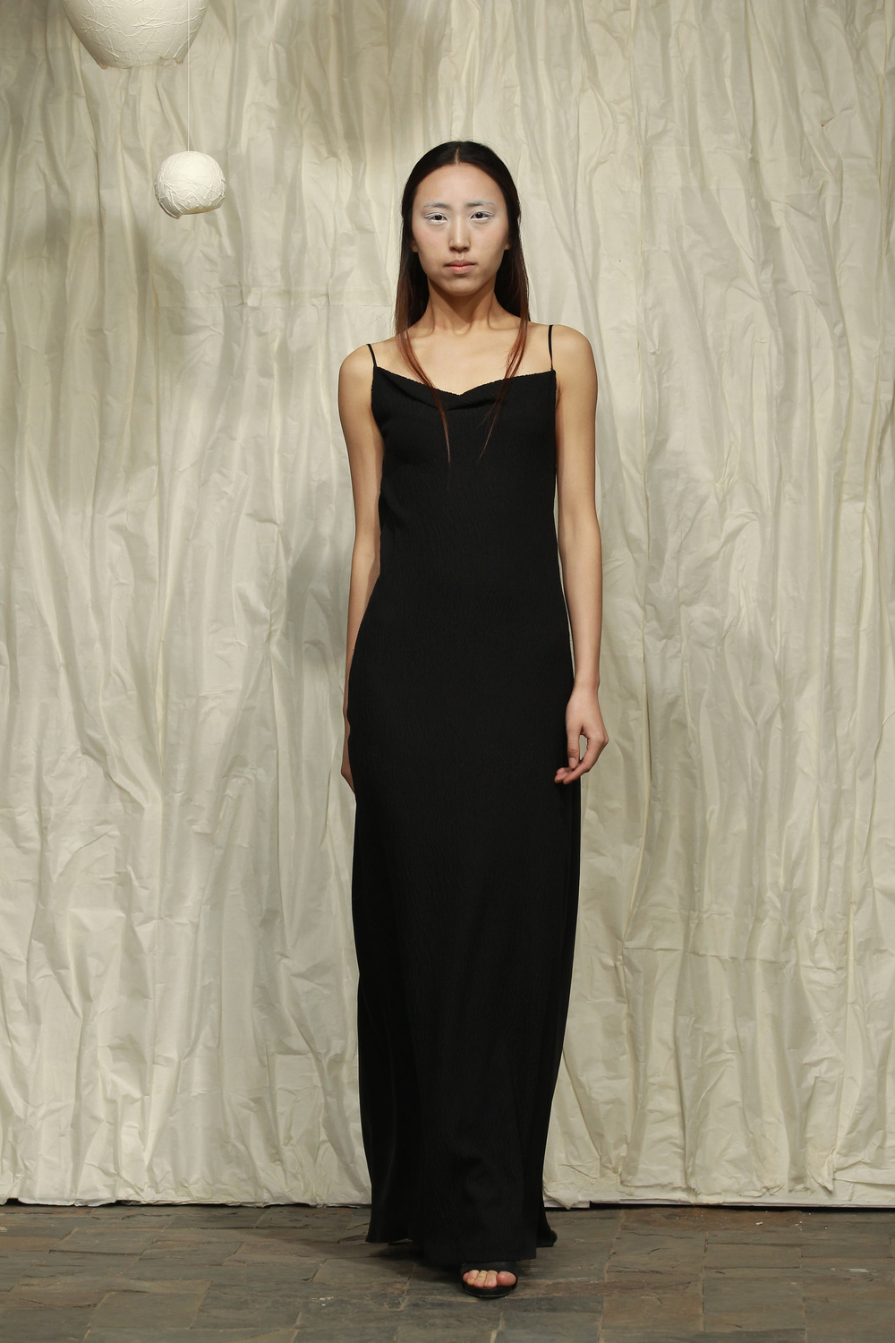 Draped backless crinkle- tea silk satin evening dress