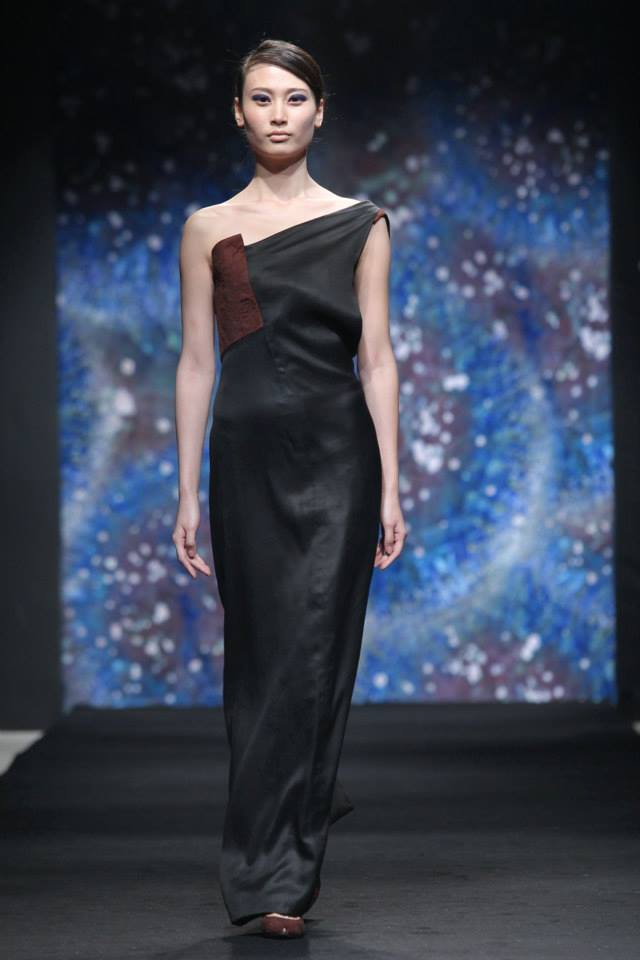 one shoulder tea silk evening dress with decorative stitching