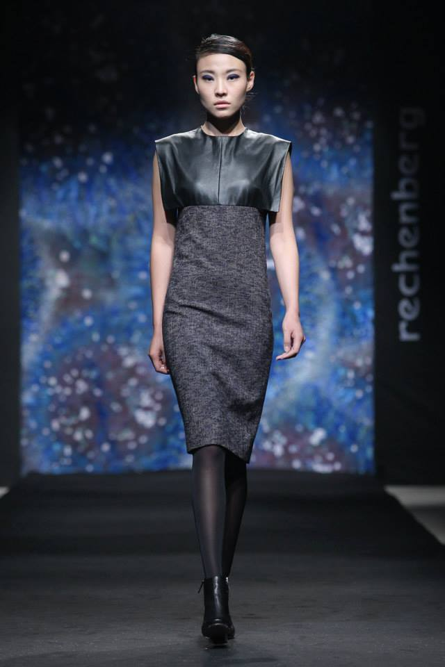 straight geometric wool/ leather combination dress