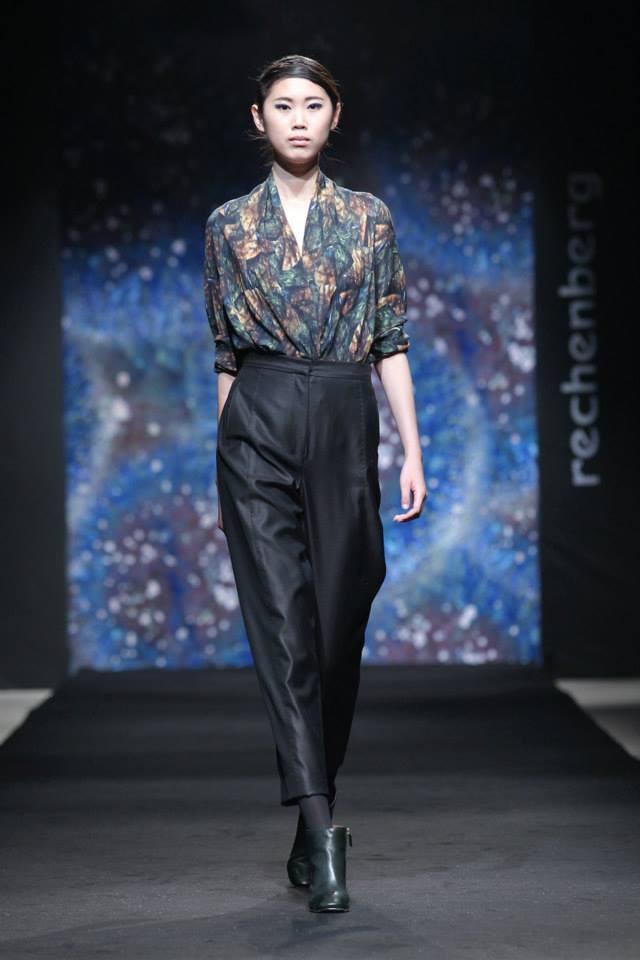 draped printed silk top, egg shape silk/ wool pants
