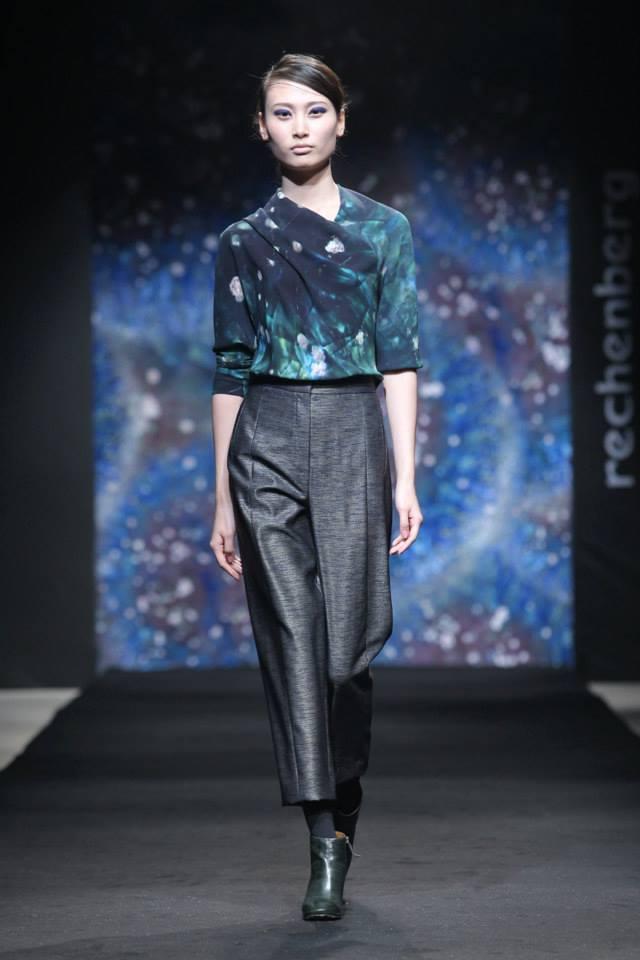 draped printed asymetric top, cropped night blue pants with metallic shine