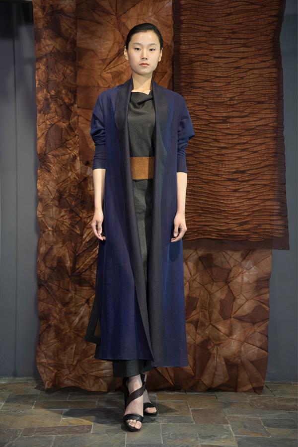 28-13 Blue Tea-Silk robe / Tea-Silk dress / Tea-Silk double face belt / 深蓝香云纱长衫 / 香云纱连衣裙 / 香云纱双面宽腰带