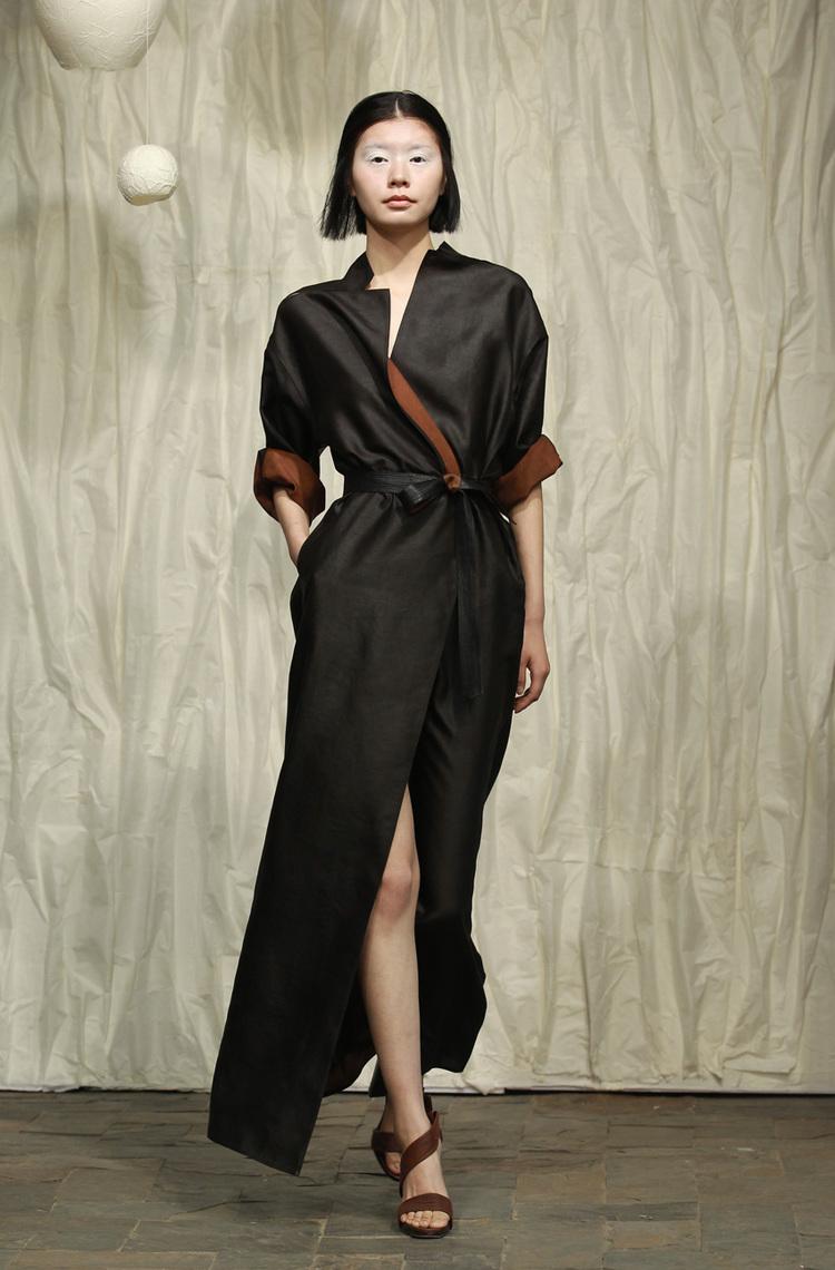 Long tea silk satin shirtdress with fagotting