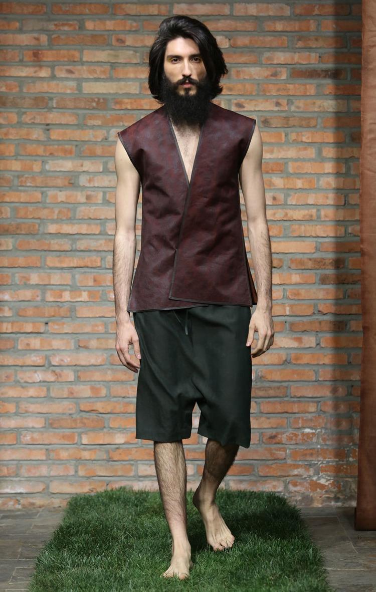 Cinnamon tea-silk men's waistcoat // green loose-cut tea-silk shorts with elastic waistband