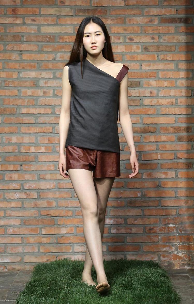 Asymmetric-cut loose tea-silk top with cinnamon tea-silk strap // cinnamon tea-silk pants