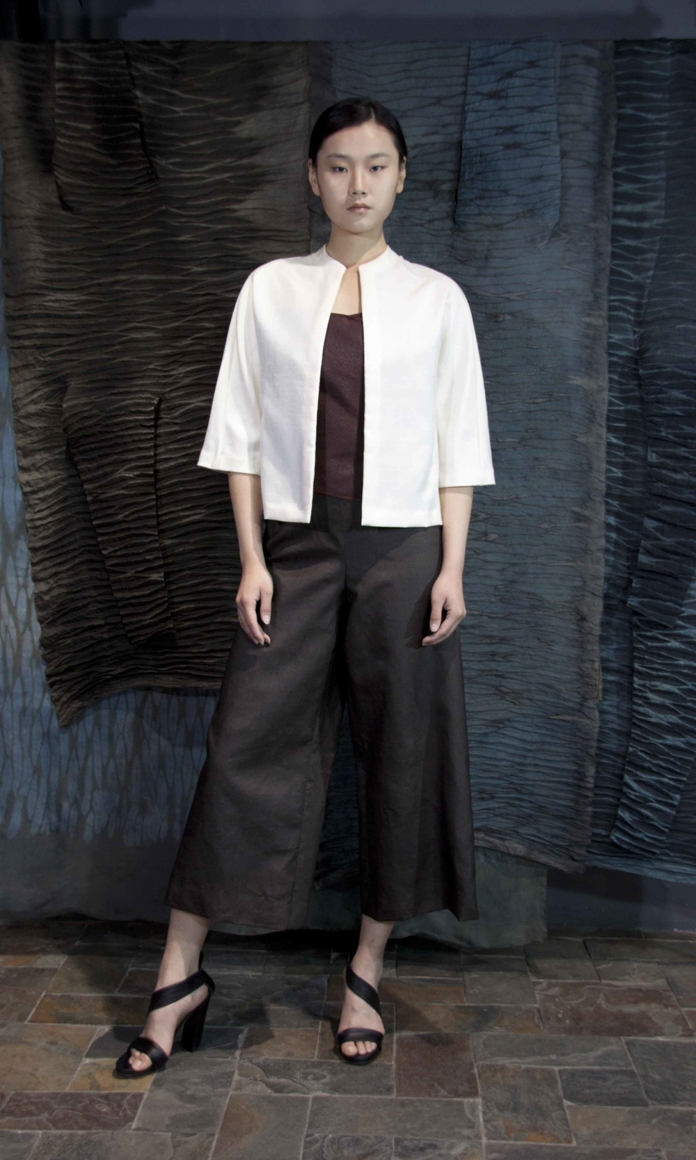 "28-24 White Tussah silk jacket/ Red-tea-silk top/ Tea-silk 3/4 pants  /   白色柞蚕丝夹克  /  红芸纱吊带上衣  /  香云纱  3/4  阔腿裤                                                                                                                                                                                                                                                                                                     /* Style Definitions */  table.MsoNormalTable 	{mso-style-name:""Table Normal""; 	mso-tstyle-rowband-size:0; 	mso-tstyle-colband-size:0; 	mso-style-noshow:yes; 	mso-style-priority:99; 	mso-style-qformat:yes; 	mso-style-parent:""""; 	mso-padding-alt:0in 5.4pt 0in 5.4pt; 	mso-para-margin-top:0in; 	mso-para-margin-right:0in; 	mso-para-margin-bottom:10.0pt; 	mso-para-margin-left:0in; 	line-height:115%; 	mso-pagination:widow-orphan; 	font-size:11.0pt; 	font-family:""Calibri"",""sans-serif""; 	mso-ascii-font-family:Calibri; 	mso-ascii-theme-font:minor-latin; 	mso-hansi-font-family:Calibri; 	mso-hansi-theme-font:minor-latin; 	mso-bidi-font-family:""Times New Roman""; 	mso-bidi-theme-font:minor-bidi;}"