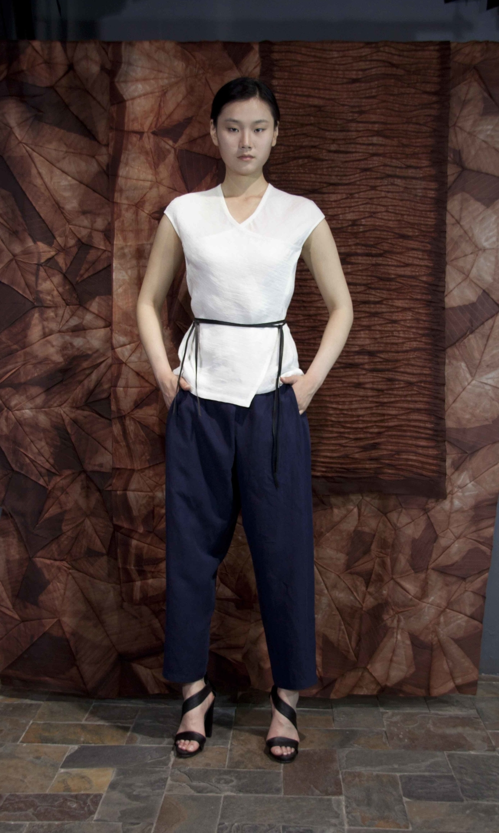 "28-25  White silk-linen wrap-around top/ Blue   loose silk-linen wrap pants  /   白色丝麻裹式上衣  /  蓝色宽松丝麻裹式裤子                                                                                                                                                                                                                                                                                                   /* Style Definitions */  table.MsoNormalTable 	{mso-style-name:""Table Normal""; 	mso-tstyle-rowband-size:0; 	mso-tstyle-colband-size:0; 	mso-style-noshow:yes; 	mso-style-priority:99; 	mso-style-qformat:yes; 	mso-style-parent:""""; 	mso-padding-alt:0in 5.4pt 0in 5.4pt; 	mso-para-margin-top:0in; 	mso-para-margin-right:0in; 	mso-para-margin-bottom:10.0pt; 	mso-para-margin-left:0in; 	line-height:115%; 	mso-pagination:widow-orphan; 	font-size:11.0pt; 	font-family:""Calibri"",""sans-serif""; 	mso-ascii-font-family:Calibri; 	mso-ascii-theme-font:minor-latin; 	mso-hansi-font-family:Calibri; 	mso-hansi-theme-font:minor-latin; 	mso-bidi-font-family:""Times New Roman""; 	mso-bidi-theme-font:minor-bidi;}"