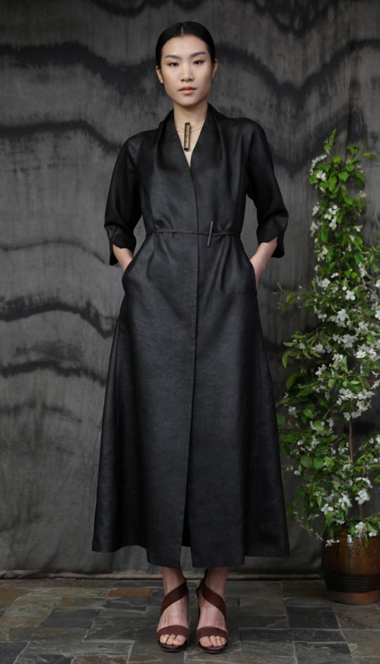 香云纱九分袖前排系扣款连衣裙/A line Tea-silk dress.